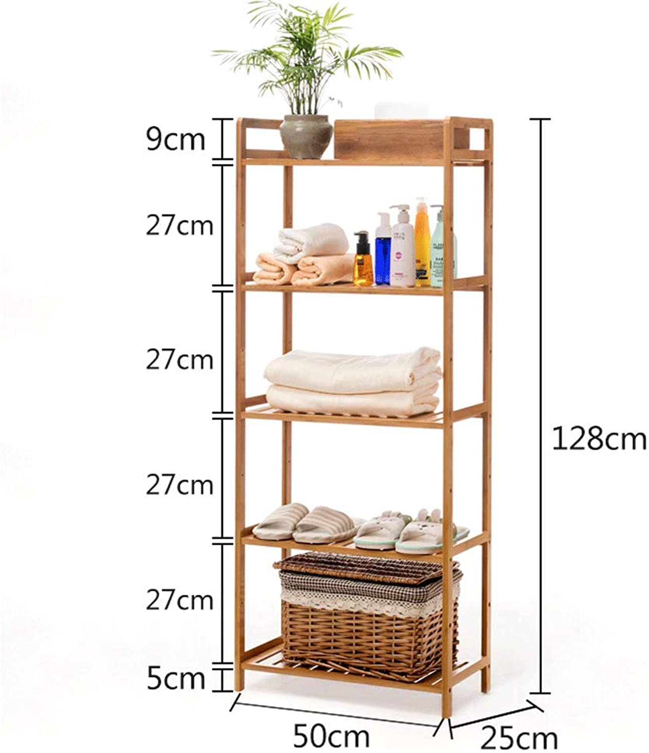 CCF Shelf Bathroom Bathroom Living Room Storage Rack Solid Wood 5 Layers Combination Multi-Layer Baffle Shelf CCFSF (Size   50  25  128CM)