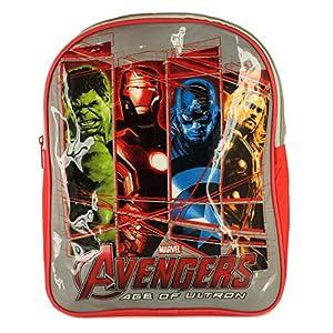 61GInIw254L. SS300  - Marvel Nuevo niños/niños azul/rojo Vengadores con cremallera Fasten mochila–rojo/blanco/Multi–UK tamaños 1–1