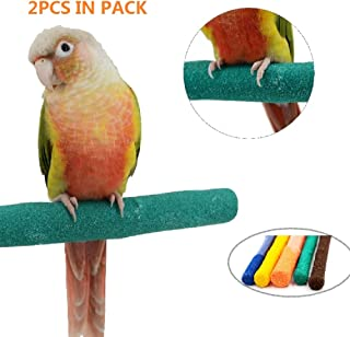 Borangs Parrot Perches Bird Stand Natural Wood Quartz Sand Branches Nail Perch for Small Medium Birds Cockatiel Parakeet Conure Cage Accessory Pack of 2