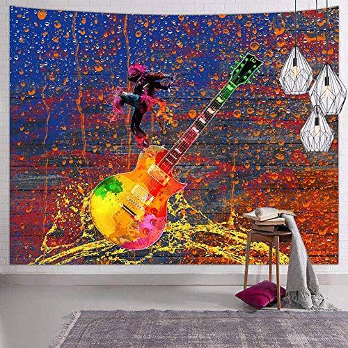 230x180cm Boheemse stijl gooien Boheemse stijl yoga meditatie tapijt Psychedelische muziek wandtapijt voor slaapkamer Hippie aquarel gitaar
