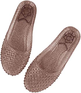 heipeiwa Women Jelly Sandals Hollow Out Flat Mules Transparent Nest Casual Slippers