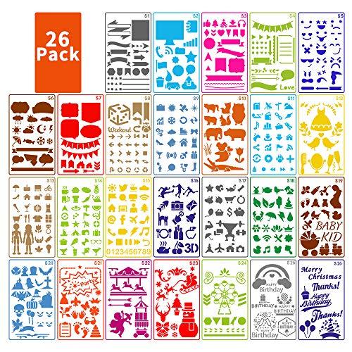 Journal Schablonen Set für Kinder, ARPDJK 26 Stück Verschiedenen Formen Malen Stencils mit Festivals, Tiere, Blumen, Wiederverwendbare Schablone Zubehör für Journaling, Scrapbook, 4 x 7 Inches