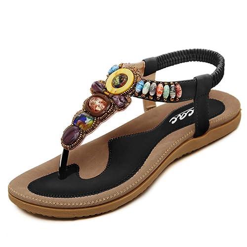 69d2e4879d106 Zicac Women s Clip Toe Sandals Summer Bohemia Rhinestone Bead Folk Dunlop Sandals  Boho Beach Flip Flops