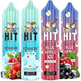 Hit Liquid Cool Vape Juice Selection   Juicy, Sweet and Fizzy E <span class='highlight'>Liquids</span>   4 x 50ml Shortfill Bottles   Nicotine Free 0mg Vape Liquid for All Day Vaping   Multipack with 4 Flavours [4 x 60ml]