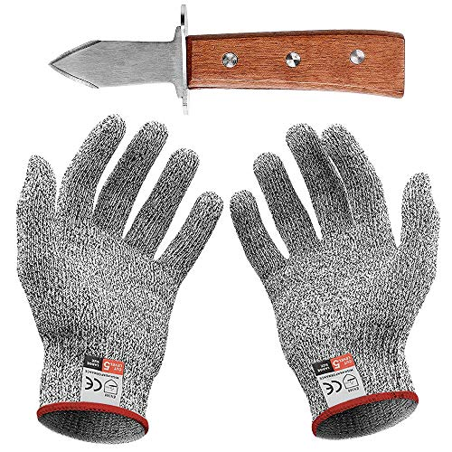 Guantes Anticorte Cuchillo de ostra con par de guantes Anti Daily Cuts Protección de nivel 5 EN 388 Certified (Kitchen, Gardening, DIY) (Lager)