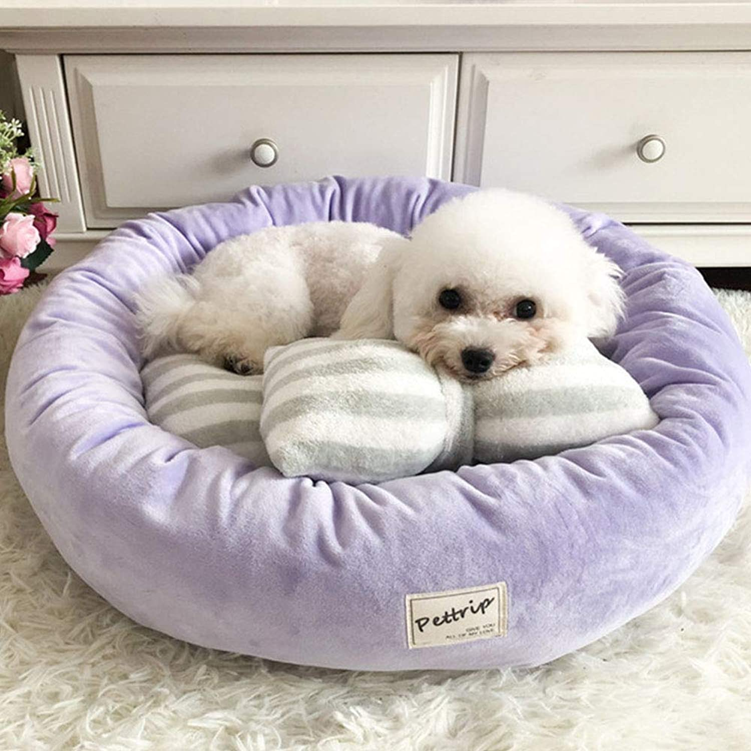 Pet Dog Bed Mats Round, Puppy Pads Warm Velvet Soft Lounger Sofa for Kitten Puppy with Pillow Four Seasons Universal, Purple,S