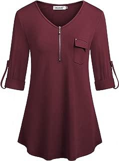 Womens 3/4 Roll Long Sleeve Zipper Shirts Casual Work Tunic Top Blouse