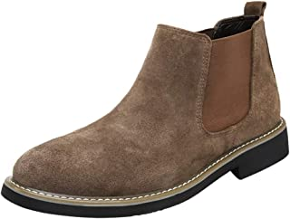 Chelsea Boot for Man Chelsea Boot Slip On Style Suede Leather Simple Pure Color British Style Fashion (Color : Khaki, Size : 9 D(M) US)
