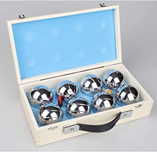 Deluxe Boules Bocce 8 Alloy Ball Set Jeu de Boules with Sturdy Wooden Case - Fun and Exciting Classic French Game with Jack Included, Detailed Rule Book