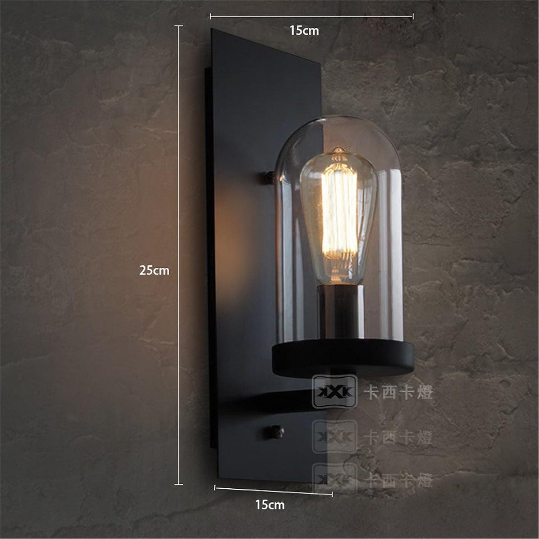 MDERTY Retro Wandlampe Industrial Wind Schmiedeeisen Glas Vintage Wandlampe Rustikal für Landhaus Schlafzimmer Wohnzimmer Esstisch