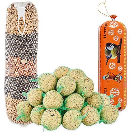 zooprinz Frische Meisenknödel mit Netz – Ideal für alle Vögel als Ganzjahresfutter – Mit riesen Futterkette zum Aufhängen und Fettwurst – Die Wildvögel lieben es!