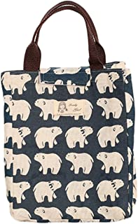 Bullidea Thermal Insulated Lunch Bag Portable Canvas Lunch Tote Bag Foldable Waterproof Picnic Cooler Bag (Bear)
