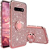 XTCASE Cover Glitter per Samsung Galaxy S10, Custodia Brillantini Diamanti con Supporto Girevole a 360 Gradi, Ultra Sottile Morbid TPU Silicone Antiurto Protettiva Case, Rosa