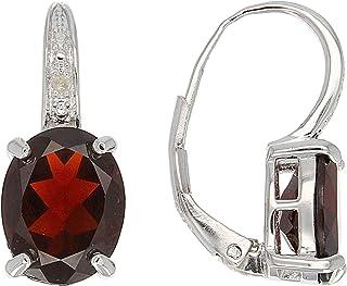 JTV-Red Garnet Rhodium Over Sterling Silver Earrings 5.64ctw