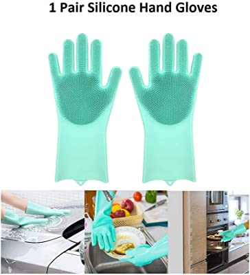 HUTU Magic Silicone Scrubbing Gloves, Scrub Cleaning Gloves with Scrubber for Dish-Washing and Pet Grooming, Latex Free (Multi Color, 1 Pair)