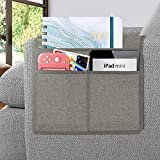 Joywell Sofa Armrest Organizer, Remote Control Holder for Recliner Couch, Arm Chair Caddy with 3 Pockets for Magazine, Tablet, Phone, iPad, Light Grey