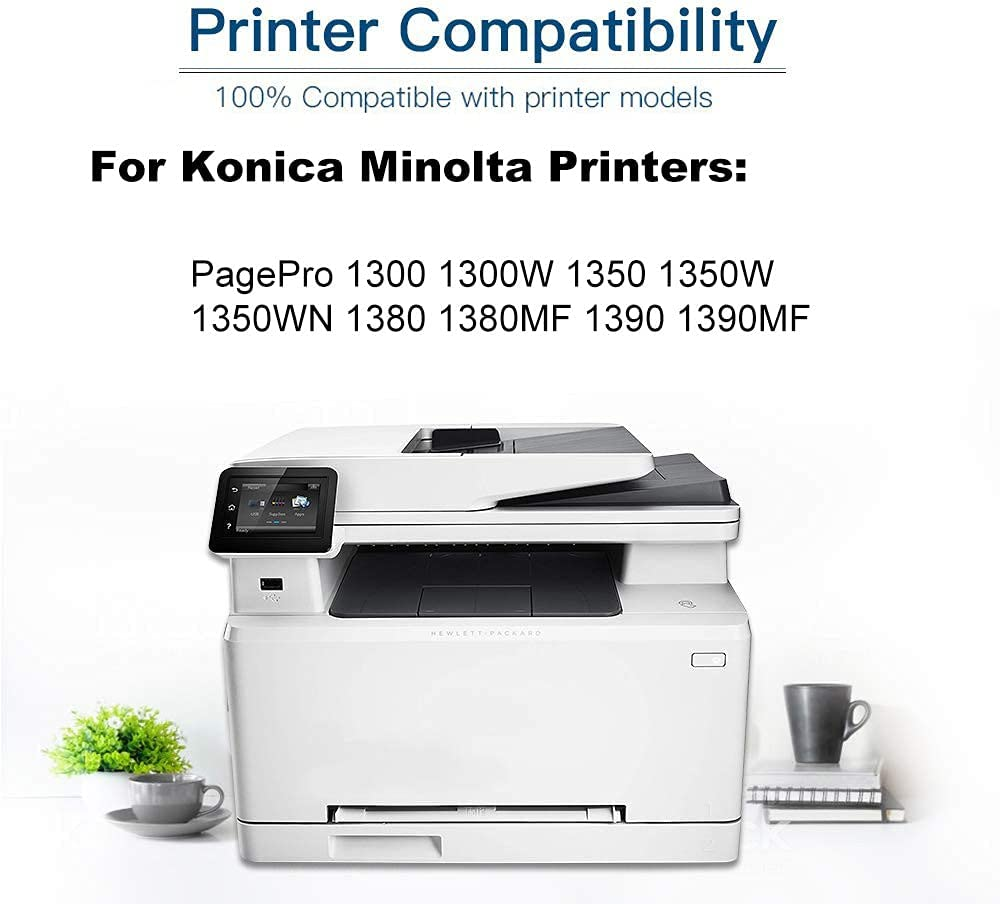 4-Pack (Black) Compatible 1710567-001 Printer Toner Cartridge (High Capacity) fit for Konica Minolta PagePro 1300 1300W 1350 1350W 1350WN Printer