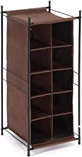 StorageManiac 5-Tier 10-Pair Shoe Cubby Organizer, Stackable Shoe Storage, 10-Compartment, Brown