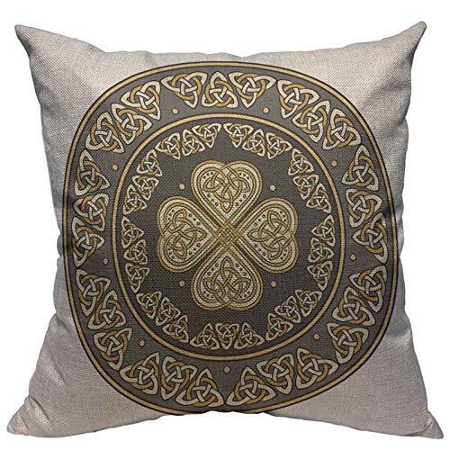 VERSUSWOLF Throw Pillow Covers Silver Shamrock Celtic Shield Decorated with Ancient European Pattern White Clover Cotton Linen Decorative Square Pillowcases Cushion Cover 18 X 18 Inch