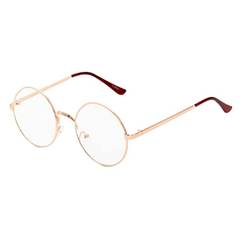 e787499adb MaxAike 1 Retro Metal Frame Clear Lens Round Glasses Plain Mirror 53mm 53mm  (Rose