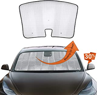 EASY EAGLE Custom-fit Front Window Windshield Sunshade Sun Protection for 2017 2018 2019 Tesla Model 3 (Silver, Pack of 1)