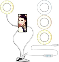 Cell Phone Holder with Selfie Ring Light Compatible with iPhone & Phone Android, UBeesize LED Camera Light with Lazy Bracket for Live Stream, Desk Lamp for Bedroom, Office, Kitchen, Bathroom (White)