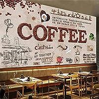 カスタム3D自己接着壁紙ヨーロピアンスタイル手描きコーヒーレストランバーミルクティーショップ背景壁防水,366(W)*254(H)Cm