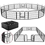 YAHEETECH 24-inch Tall Heavy Duty Metal Pet Dog Puppy Cat Exercise Fence Barrier Playpen Kennel, 16...