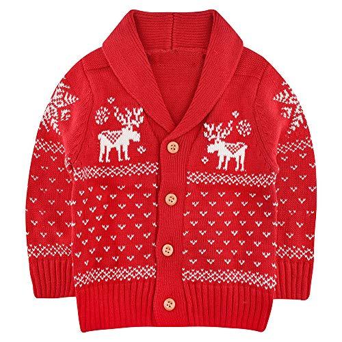 SANMIO Toddler Baby Boys Girls Deer Christmas Cardigan Sweater Button-up Cotton Coat Red