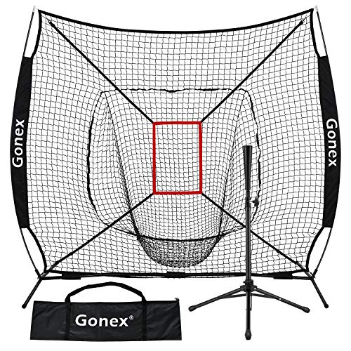 Gonex 7  x 7  Baseball Softball Practice Net Set with Batting Tee for Hitting and Pitching Batting, Practice Training Aid, with Strike Zone, Large Mouth, Bow Frame, Carrying Bag