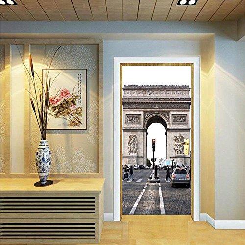 LUCKYYY 3D creatieve waterdichte deur sticker oude ramen straat retro zebra blok decoratie pasta 77x200 cm