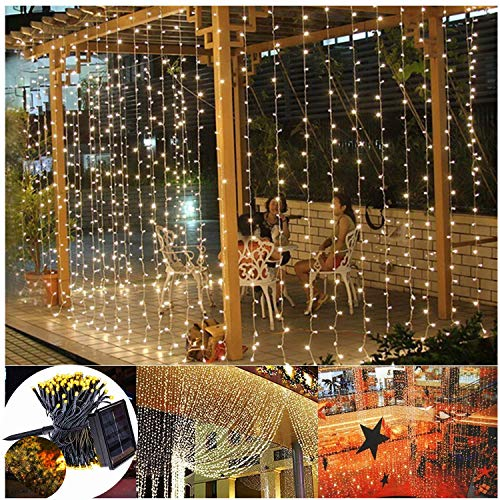Solar Eiszapfen Vorhang Lichter, 200 LED, Solar String Lichterketten Hintergrund Dekor für Vorschlag Festival...