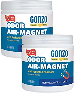 Gonzo Natural Magic Odor Air-Magnet with Activated Charcoal - 14 Ounce (2 Pack) - Odor Eliminator for Car Closet Bathroom and Pet Area Captures and Absorbs Smoke Odors
