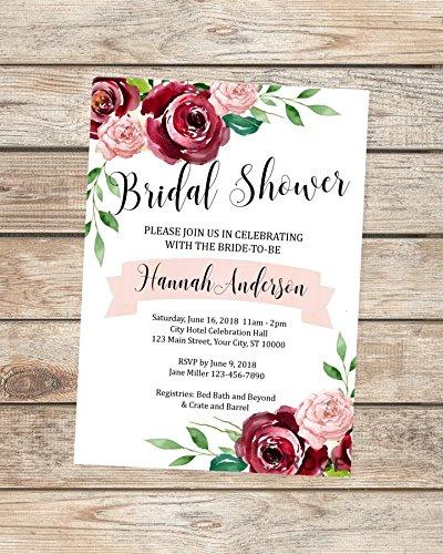 Bridal Shower invitation Marsala Bridal Shower Invitation Printed invitation Chic Bridal Shower Burgundy Bridal Brunch Rustic Invitation