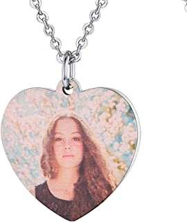 Personalized Dog Tags Necklace with Chain Stainless Steel Text/Image Print Photo Custom Engraving Pendant, Gift for Men Women(Tag/Round/Heart)