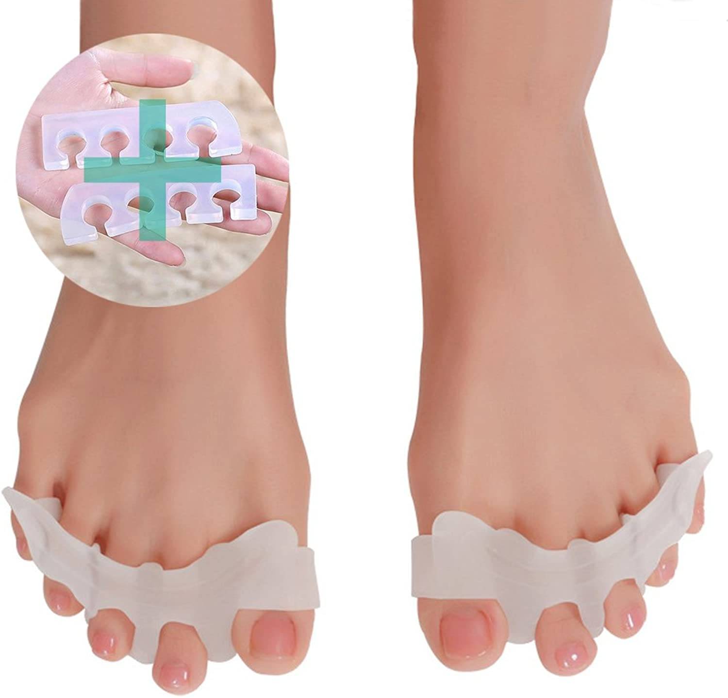 FullWarm toe stretch pad spread toes attitude walking balance sole supporters left and right set edema floating finger posture correction silicon wash OK supporters foot massage legs lower body diet O leg body makeup hallux valgus posture support flat foo