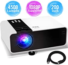 Mini Projector, 1080P HD Supported 4500 Lux Portable Video Projector, Compatible with TV..