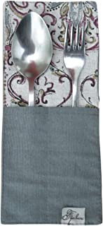 Provence Cotton Tableware Pouch With Cotton Lace in French Country Style, Grey Mosaic