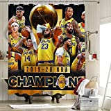 Juego de cortina de ducha de tela de Los Angeles Lakers con ganchos Lebron James y Anthony Davis Championship King Crown Art Sports Player Poster de 72 x 172 pulgadas