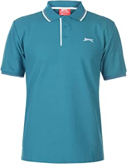 Slazenger Mens Tipped Polo T Shirt Short Sleeve Classic Fit Tee Top Clothing Teal Blue Medium