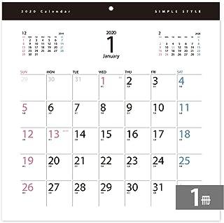 2020年カレンダー壁掛け30.5cm角 シンプルスタイル(1冊)