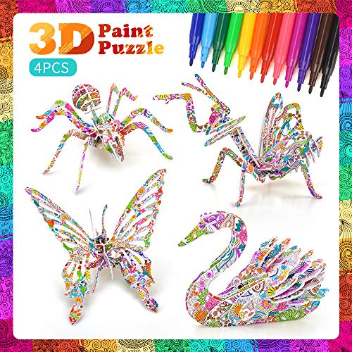 DIY Arts and Crafts Kit for Girls Kids,Children 3D Puzzles for Kids Toy Age 8 9 10 Coloring Puzzle Set Gift for 5-12 Year Old Boys Painting Coloring 3D Puzzle Project Set Birthday Gift Age 7 8 9 Girls