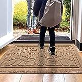 """DEXI Indoor Doormat, 32""""x48"""" Non-Slip Absorbent Front Door Mats Low Profile Machine Washable Door Rug for Entry, Garage, Patio, Beige"""