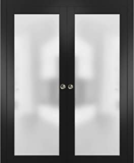 Sliding Double Pocket Door 56 x 80 inches Frosted Tempered Glass   Planum 2102 Black Matte   Kit Trims Rail Hardware   Solid Wood Interior Bedroom Bathroom Closet Sturdy Doors