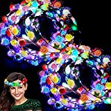 24 Pack LED Flower Crown Colorful Valentines Headband Light Up Wreath Stick Glow Party Supplies Flashing Garland for Women Girls Dress Up Glow Accessories Birthday Wedding New Year Eve Costume Party