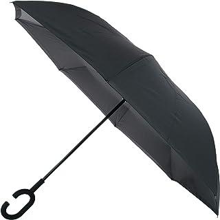 ShedRain Reverse Closing UnbelievaBrella Stick Umbrella, Black and Charcoal Grey