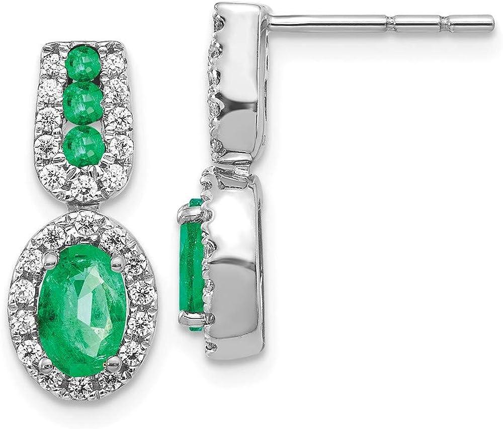 14k White Gold 1/3ct Diamond Green Emerald Post Stud Earrings Gemstone Fancy Drop Dangle Fine Jewelry For Women Gifts For Her