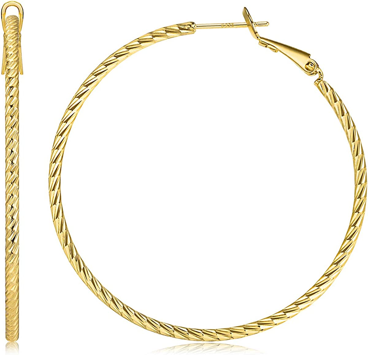 Kainier Big Hoop Earrings 14K Gold National products Silver Baltimore Mall Po Plated 925 Sterling