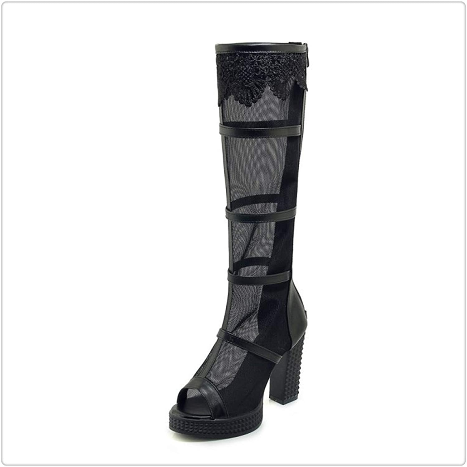 QUGKOP& High Heels Gladiator Sandals Women Summer Mesh Knee High Boots Party shoes