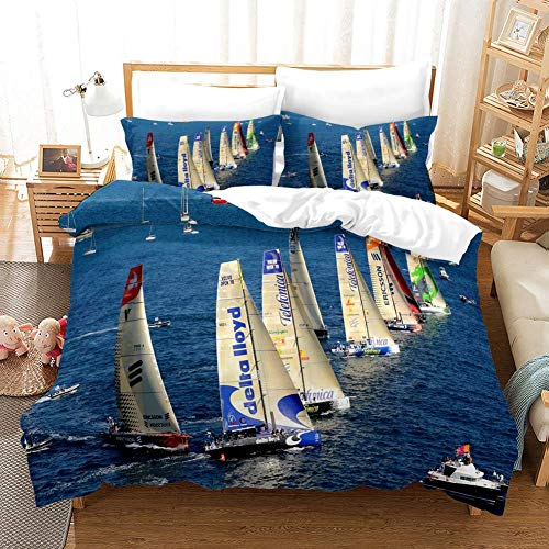 888 AIMENDESI Duvet Cover Sets 3D SailBoat Printing Cartoon Bedding Set With Zipper Closure 100% Polyester Gift Duvet Cover 3 Pieces Set With 2 Pillowcases D-US King102*90'(259x229cm)